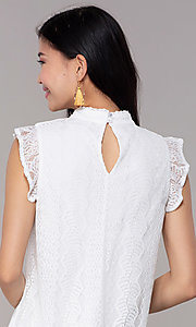 Image of short high-neck lace shift graduation party dress. Style: AS-A8290D4B02 Detail Image 2