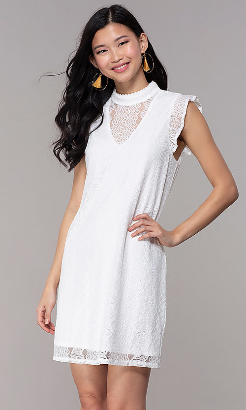 Image of short high-neck lace shift graduation party dress. Style: AS-A8290D4B02 Front Image
