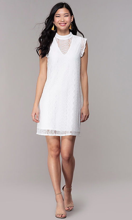 Image of short high-neck lace shift graduation party dress. Style: AS-A8290D4B02 Detail Image 3