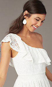 Image of one-shoulder short ivory lace party dress. Style: AS-I4937J56B16 Detail Image 1
