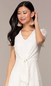 Image of short-sleeve ivory white lace short party dress. Style: AS-A14574I26 Detail Image 1