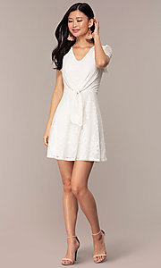 Image of short-sleeve ivory white lace short party dress. Style: AS-A14574I26 Detail Image 3