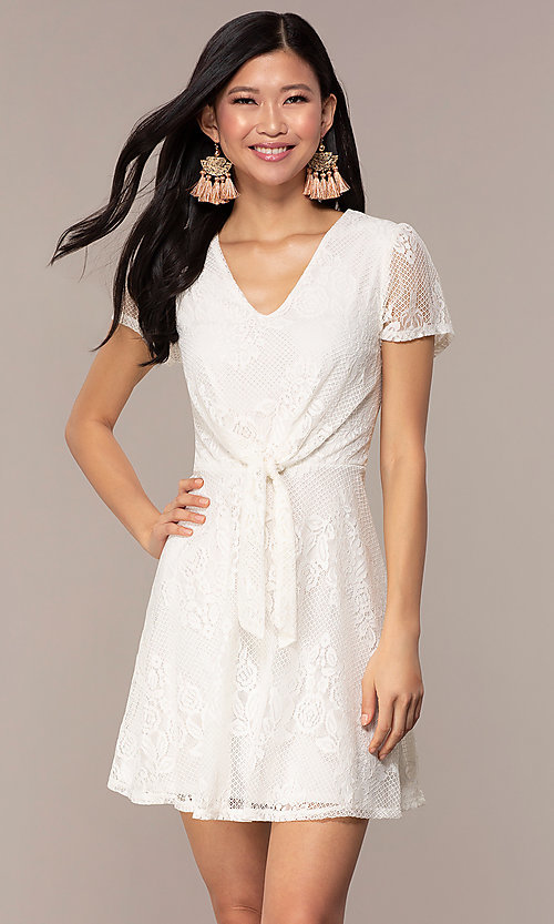 Image of short-sleeve ivory white lace short party dress. Style: AS-A14574I26 Front Image