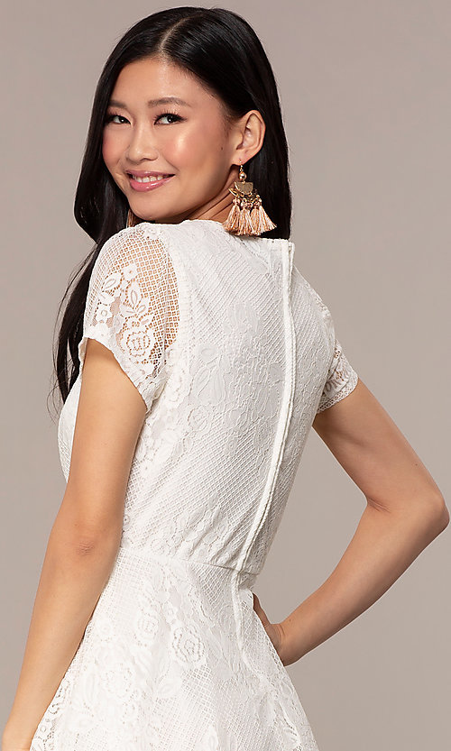Image of short-sleeve ivory white lace short party dress. Style: AS-A14574I26 Detail Image 2