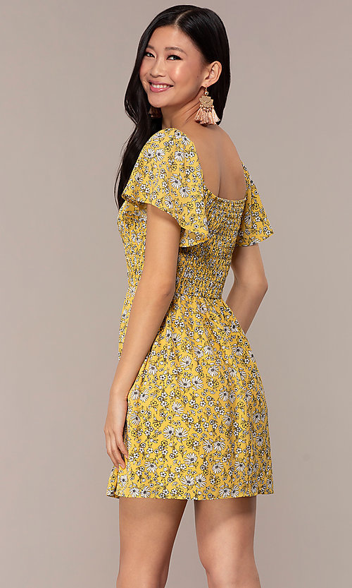 Image of short casual yellow dress with smocked bodice. Style: AS-A162845D97 Back Image