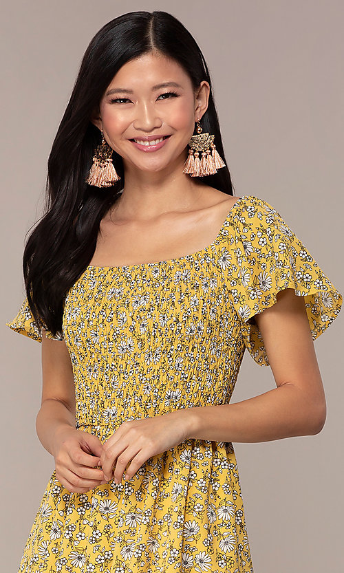 Image of short casual yellow dress with smocked bodice. Style: AS-A162845D97 Detail Image 1