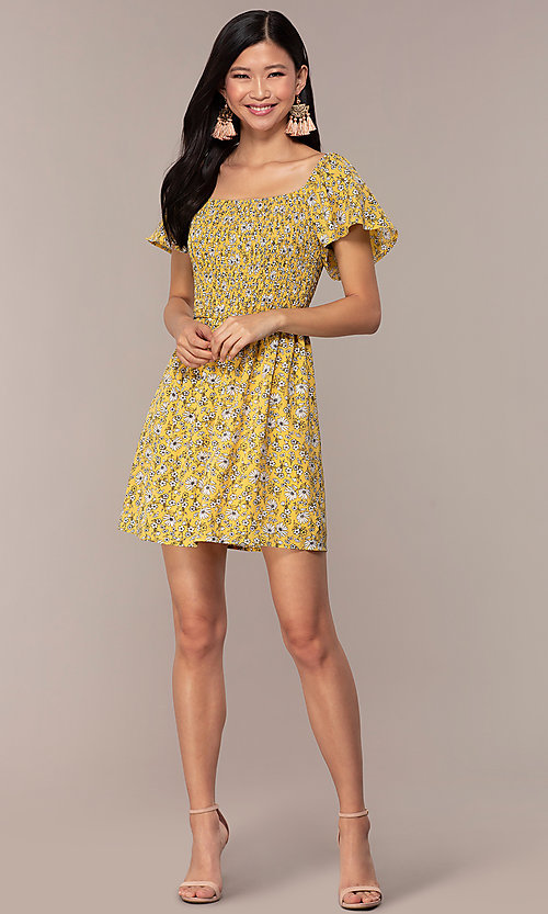 Image of short casual yellow dress with smocked bodice. Style: AS-A162845D97 Detail Image 3