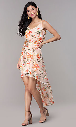 High-Low Wedding-Guest Floral-Print Dress