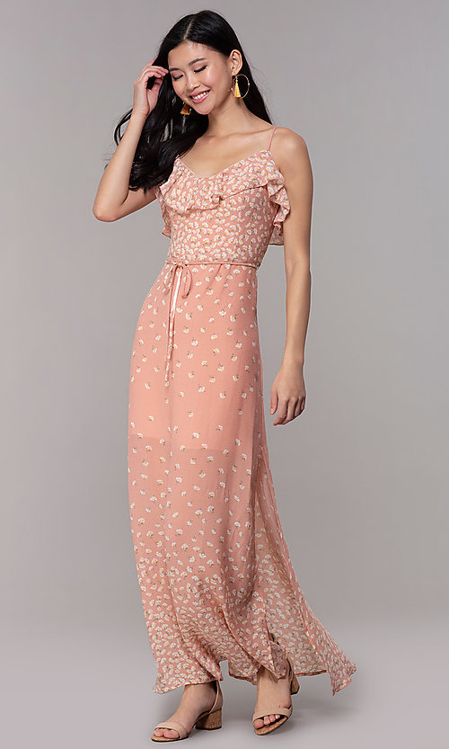 Image of floral-print maxi dress for wedding guests. Style: AS-JH-J512479F35 Detail Image 3