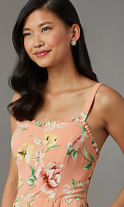 Image of floral-print short casual party romper. Style: AS-JH-L7055D45E34 Detail Image 1