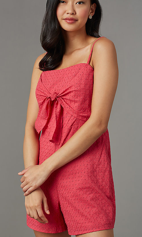 Image of berry red short lace romper for parties. Style: AS-JH-I7112d1J92 Detail Image 2