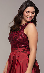 Image of high-low sequin-bodice plus-size prom dress by Simply. Style: MCR-SD-2853 Detail Image 6