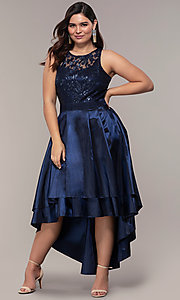 Image of high-low sequin-bodice plus-size prom dress by Simply. Style: MCR-SD-2853 Detail Image 3