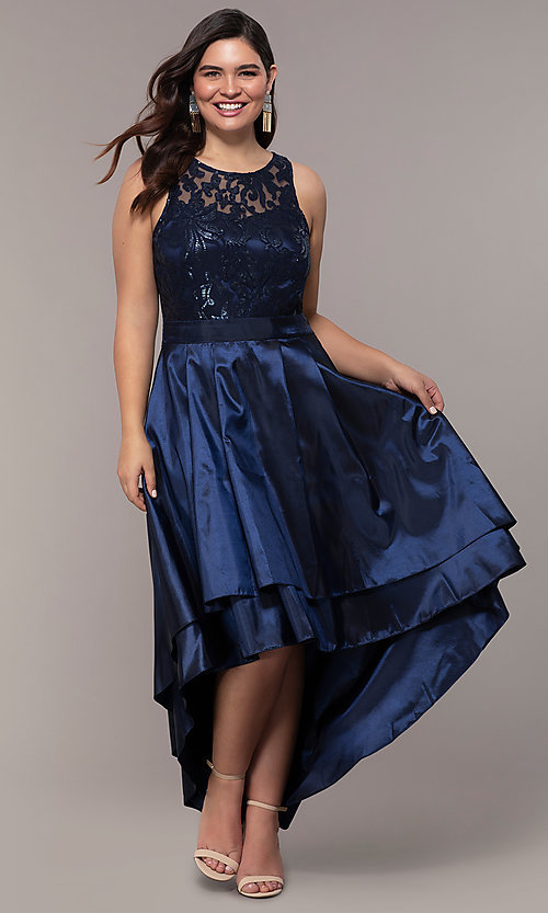Image of high-low sequin-bodice plus-size prom dress by Simply. Style: MCR-SD-2853 Front Image