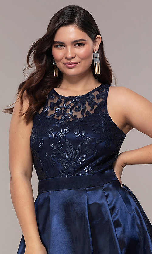 Image of high-low sequin-bodice plus-size prom dress by Simply. Style: MCR-SD-2853 Detail Image 1