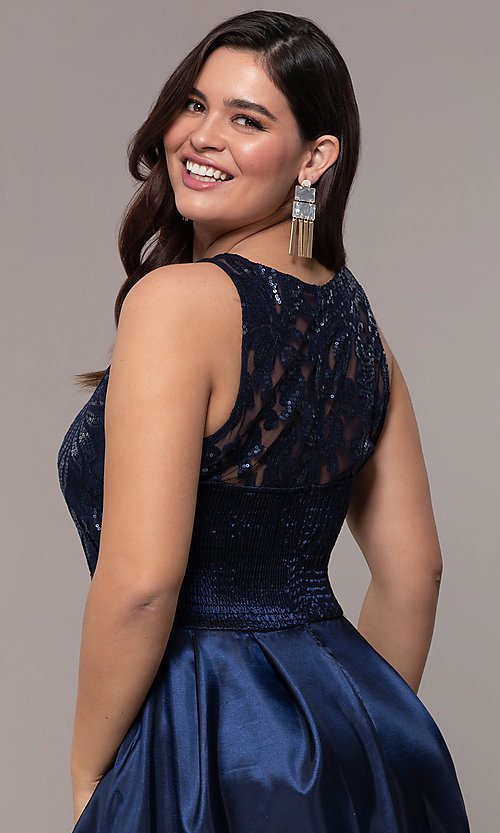 Image of high-low sequin-bodice plus-size prom dress by Simply. Style: MCR-SD-2853 Detail Image 2