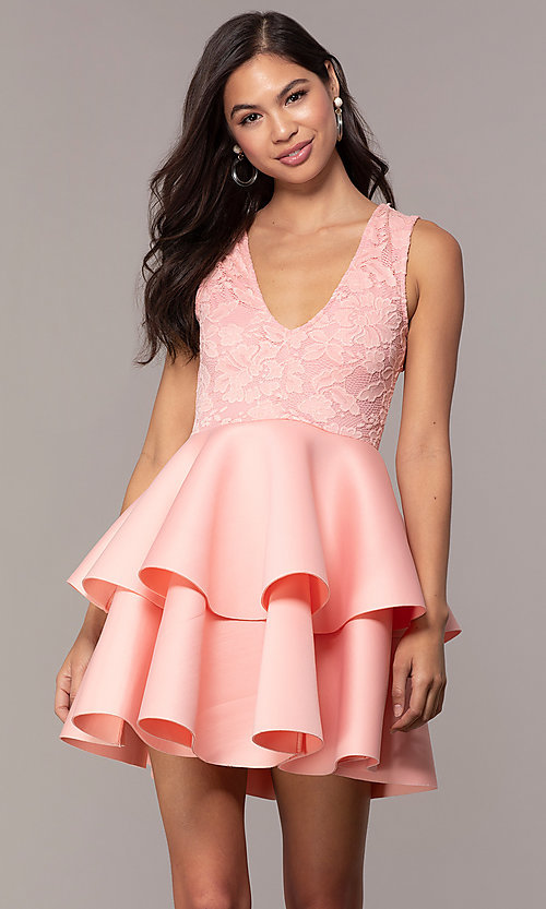 Image of short lace-bodice graduation party dress. Style: CL-47242 Front Image