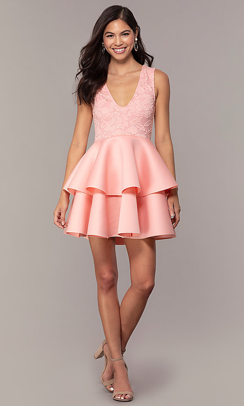 Image of short lace-bodice graduation party dress. Style: CL-47242 Detail Image 3