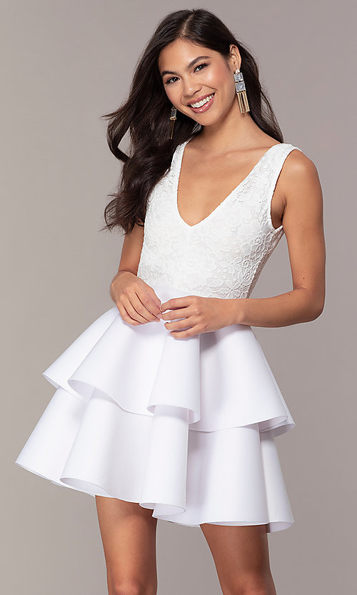 Image of short lace-bodice graduation party dress. Style: CL-47242 Detail Image 4