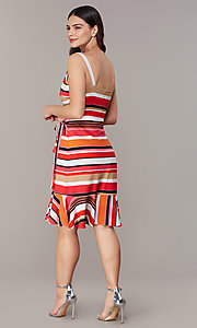 Image of striped knee-length faux-wrap casual party dress. Style: ECI-NMS-S1056-8474 Back Image