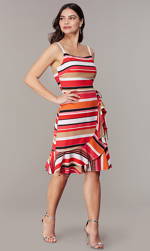Image of striped knee-length faux-wrap casual party dress. Style: ECI-NMS-S1056-8474 Front Image