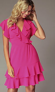 Image of fuchsia pink wedding-guest dress with flounce. Style: ECI-S1085-7252 Detail Image 1