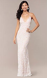 Image of long sequin-mesh v-neck prom dress by PromGirl. Style: MCR-PL-2811 Front Image