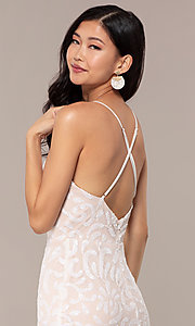 Image of long sequin-mesh v-neck prom dress by PromGirl. Style: MCR-PL-2811 Detail Image 2