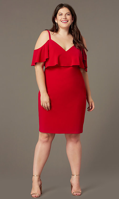 Image of off-the-shoulder knee-length plus red party dress. Style: EM-FRD-P-3405-600 Front Image