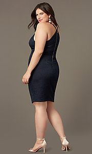 Image of short lace v-neck navy plus-size party dress. Style: EM-FRI-P-4221-430 Back Image