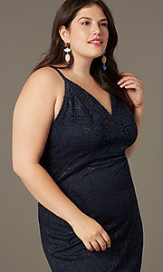 Image of short lace v-neck navy plus-size party dress. Style: EM-FRI-P-4221-430 Detail Image 1
