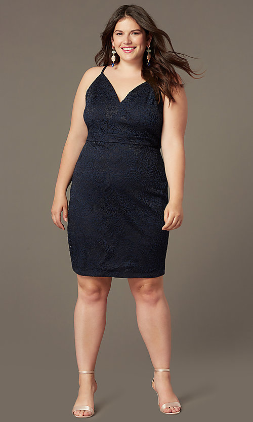 Image of short lace v-neck navy plus-size party dress. Style: EM-FRI-P-4221-430 Front Image