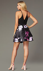 Shop short hoco party dress with tiered print skirt. Style: SS-D71912QAA Back Image