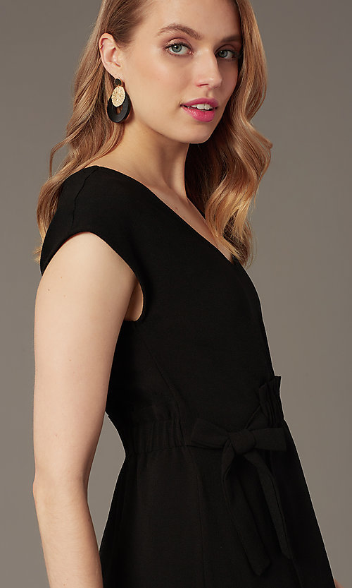 Image of short black party dress with faux-wrap skirt. Style: SS-JA99231GKW Detail Image 1
