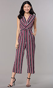 Image of wide-cropped-leg v-neck striped party jumpsuit. Style: SS-JA97903GWD Front Image