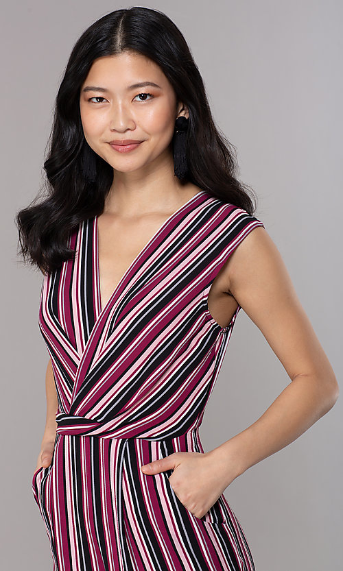 Image of wide-cropped-leg v-neck striped party jumpsuit. Style: SS-JA97903GWD Detail Image 1