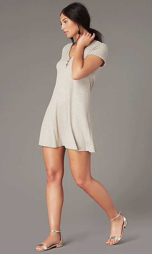 Image of casual short shift party dress in light taupe. Style: SS-JA35542F100 Front Image