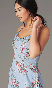 Image of chambray/pink short floral-print casual dress. Style: SS-JB00941W282 Detail Image 1