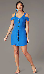 Image of short cold-shoulder casual party dress in blue. Style: EM-HGW-4038-420 Front Image