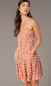 Image of coral/ivory short casual floral-print party dress. Style: EM-HHS-4085-681 Detail Image 1