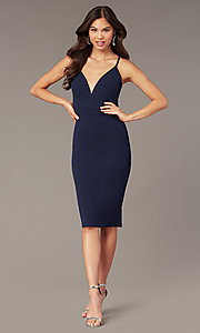 Image of knee-length wedding-guest dress in navy blue. Style: EM-HIY-3405-430 Front Image