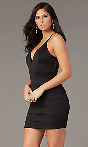 Image of v-neck lace-back little black party dress. Style: EM-FPR-1003-001 Back Image