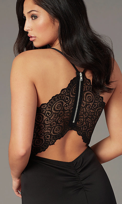 Image of v-neck lace-back little black party dress. Style: EM-FPR-1003-001 Detail Image 3