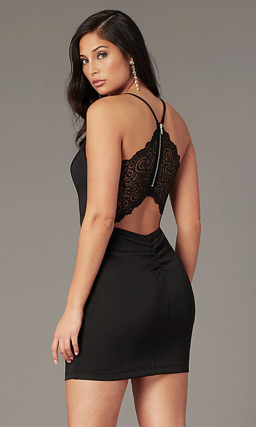 Image of v-neck lace-back little black party dress. Style: EM-FPR-1003-001 Front Image