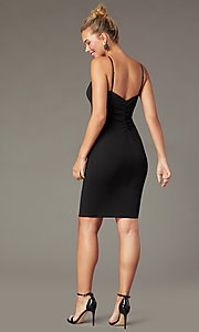 Image of short little black party dress with empire waist. Style: EM-FWD-3405-001 Back Image