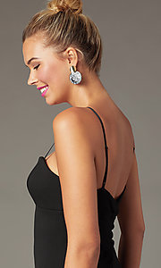 Image of short little black party dress with empire waist. Style: EM-FWD-3405-001 Detail Image 1