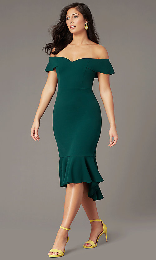 Image of knee-length wedding-guest dress in emerald green. Style: EM-FZL-3405-330 Front Image