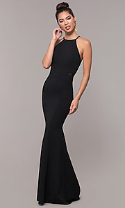 Image of long back-cut-out mermaid prom dress by PromGirl. Style: MCR-3051r Detail Image 4