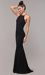 Image of long back-cut-out mermaid prom dress by PromGirl. Style: MCR-3051r Detail Image 8