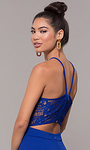 Image of long back-cut-out mermaid prom dress by PromGirl. Style: MCR-3051r Detail Image 2